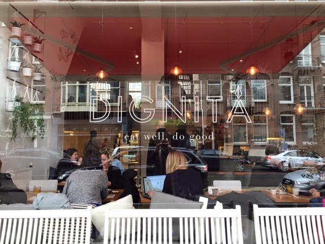 Exterior photo of Dignita Restaurant in Amsterdam.
